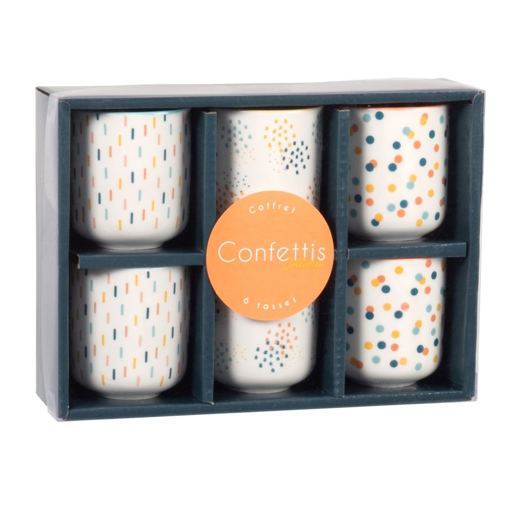 Coffret 6 tasses en porcelaine motifs orange, jaunes et bleus