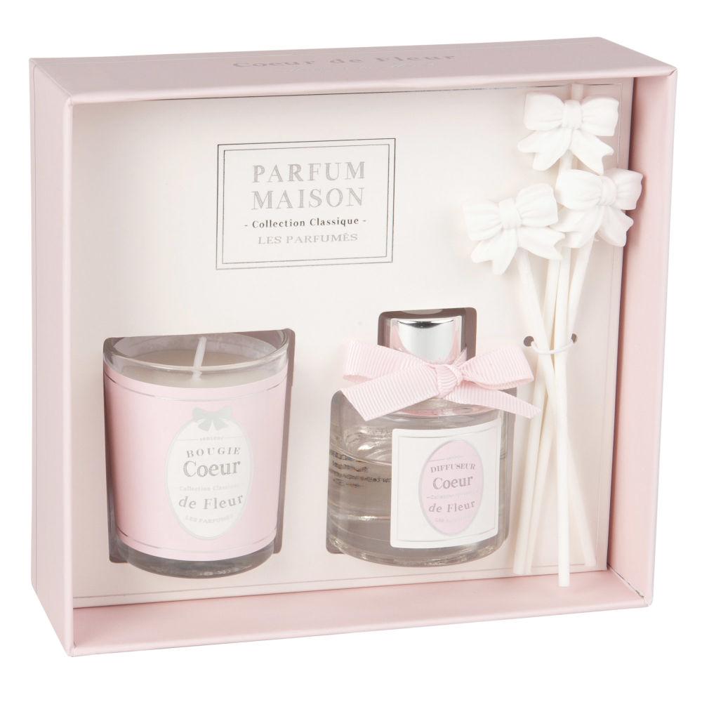 Coffret bougie parfumée et diffuseur de parfum cœur de fleur 30 ML