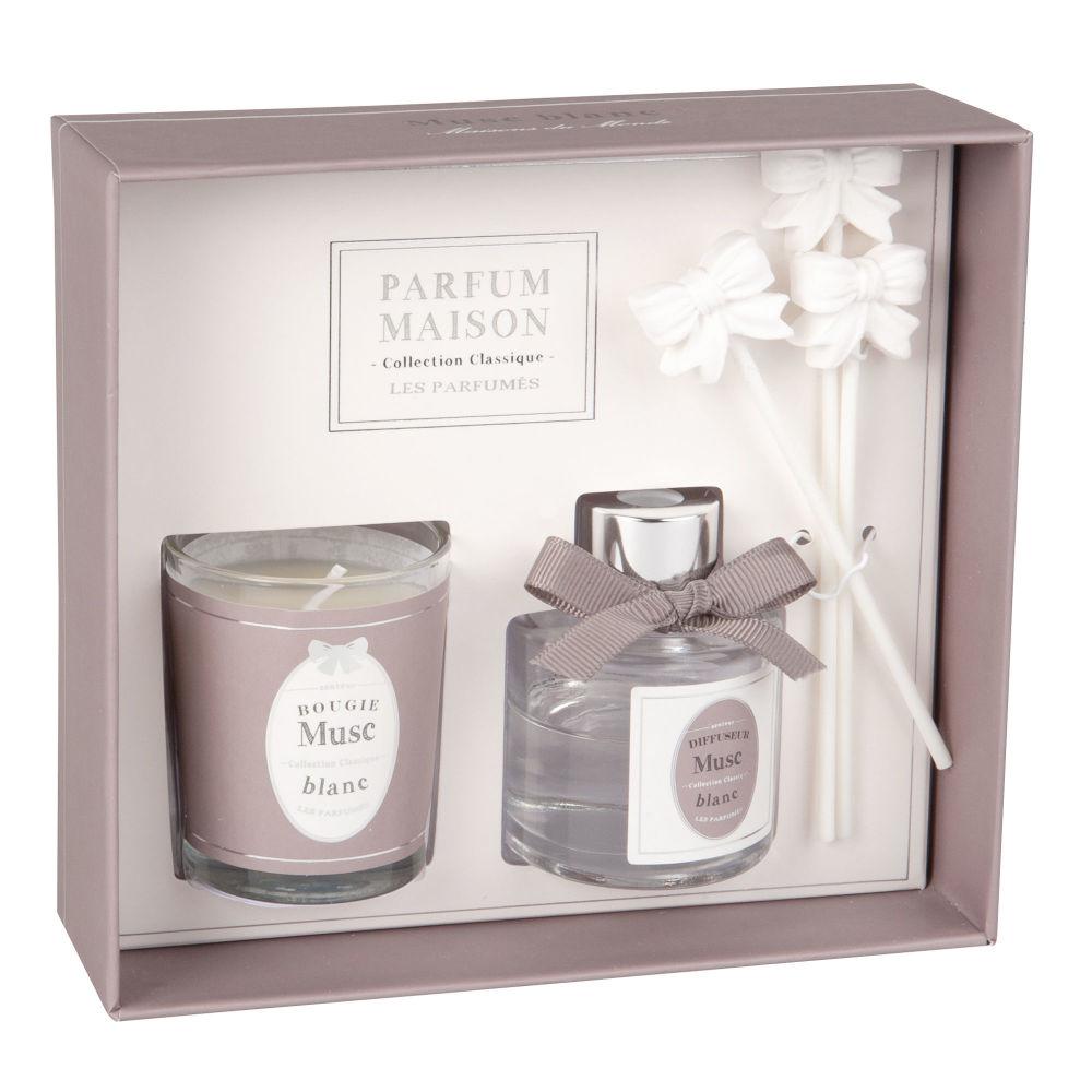 Coffret bougie parfumée et diffuseur de parfum musc 30 ML