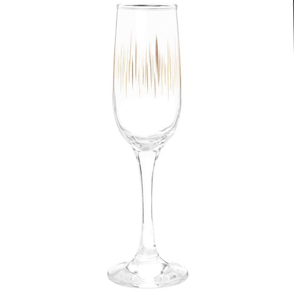 Coffret flûtes à champagne (x6) en verre motifs stries dorées