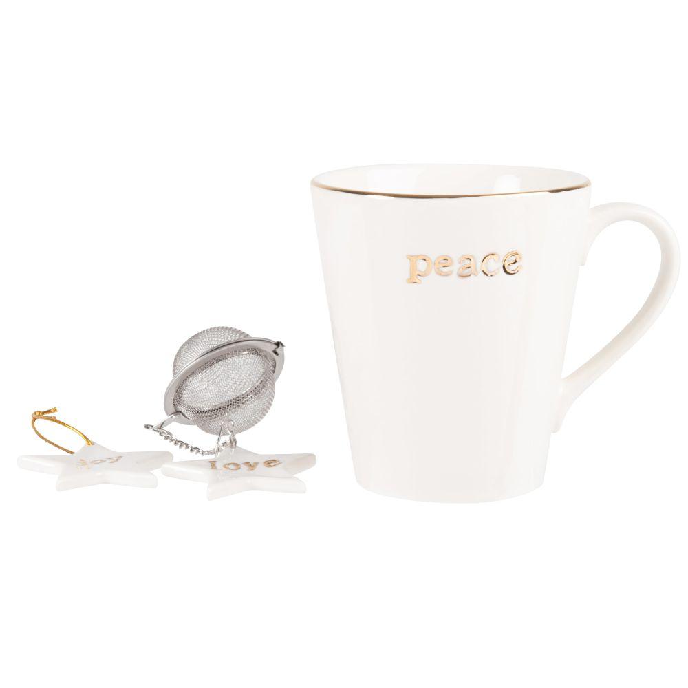 Coffret mug en porcelaine blanche et dorée et boule à thé en inox