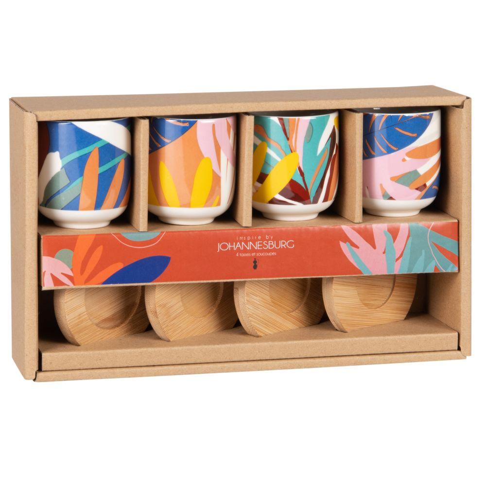 Coffret tasses en grès motif végétal multicolore (x4) et soucoupes en bambou