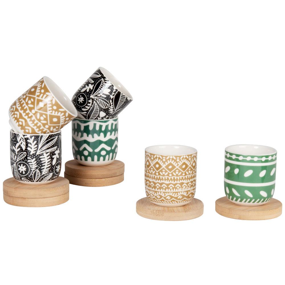 Coffret tasses en grès motifs graphiques multicolores (x6) et soucoupes en bambou