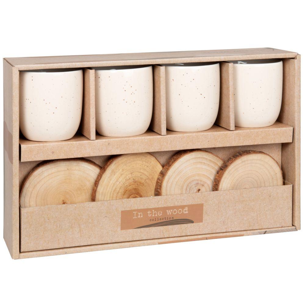 Coffret tasses en porcelaine crème (x4) et soucoupes en camphrier