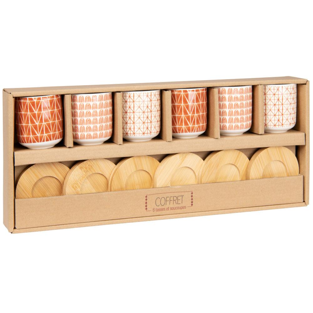 Coffret tasses en porcelaine marron et beige (x6) et soucoupes en bambou