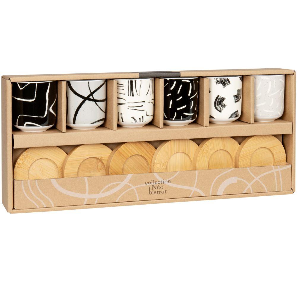 Coffret tasses en porcelaine motifs noirs, blancs et gris (x6) et soucoupes en manguier