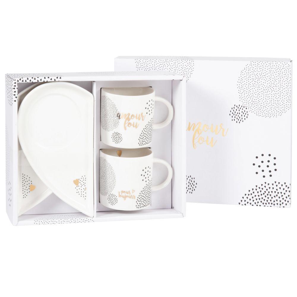 Coffret tasses et soucoupes (x2) en porcelaine blanche, noire et dorée