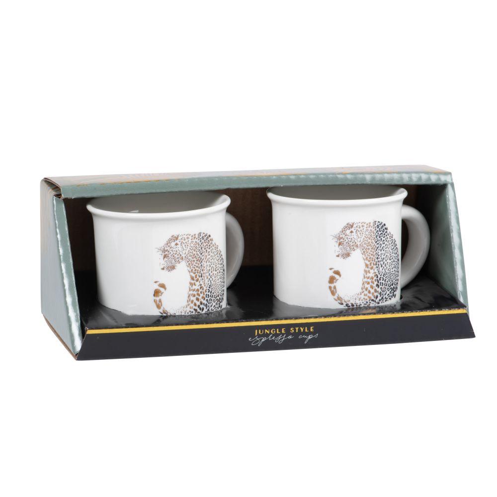 Coffret tasses (x2) en porcelaine blanche imprimé guépard doré