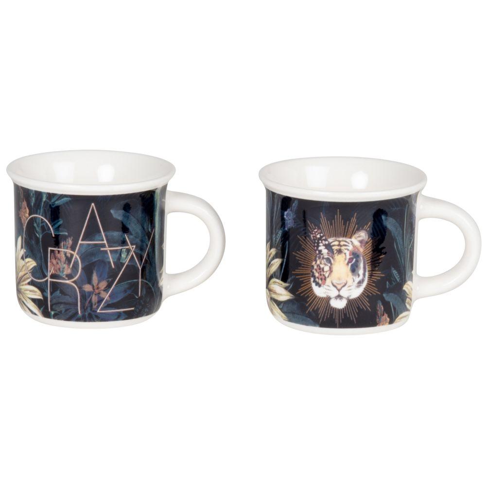 Coffret tasses (x2) en porcelaine multicolore imprimé lion et tropical