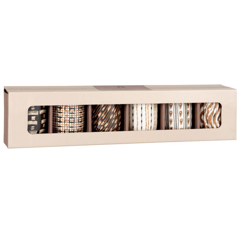 Coffret tasses (x6) en porcelaine motifs graphiques ivoire, gris et marron
