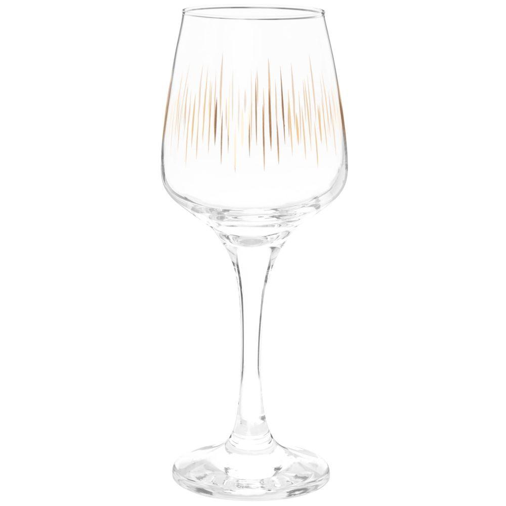 Coffret verres à pied (x6) en verre motifs stries dorées