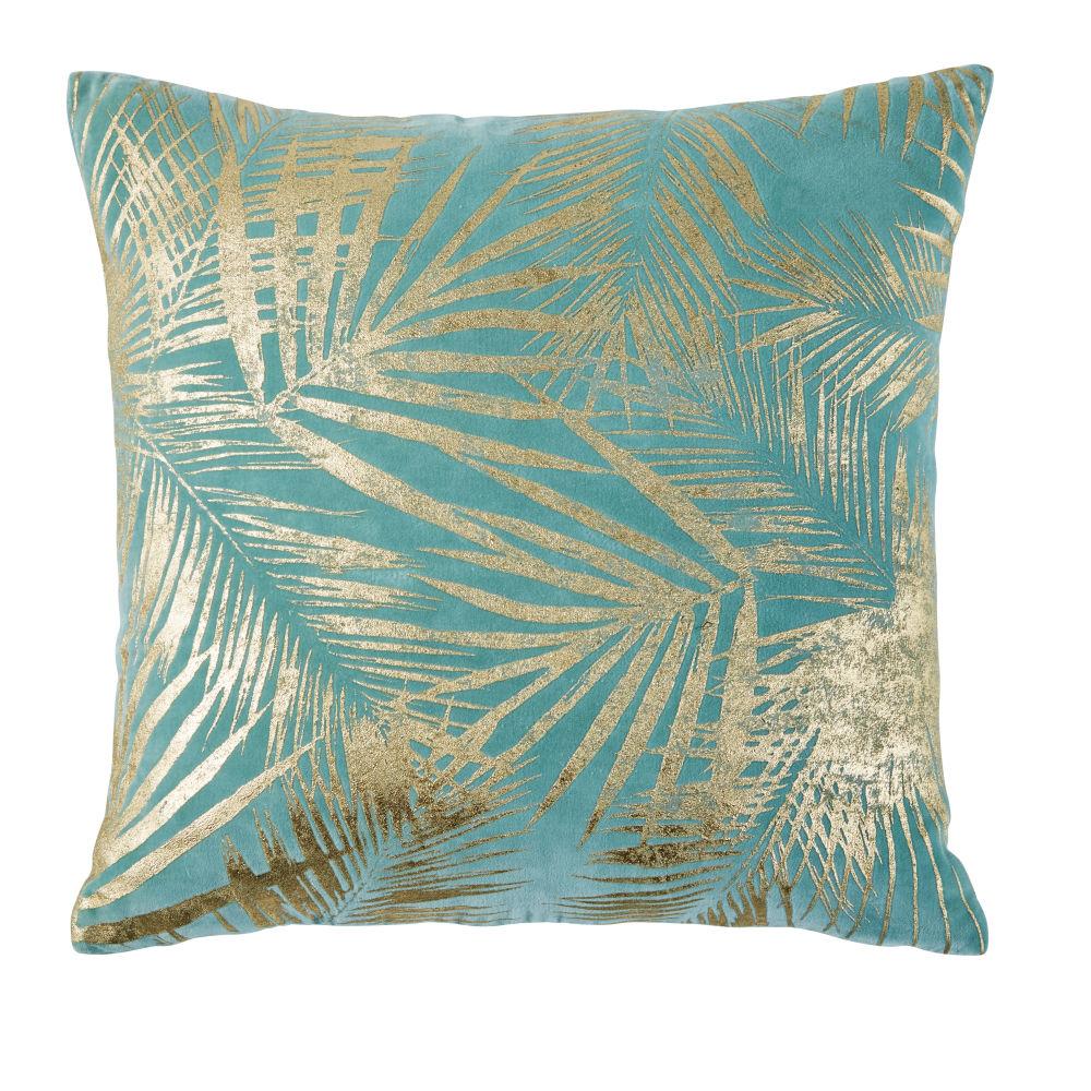 Cojín de terciopelo azul con estampado de hojas doradas 45x45