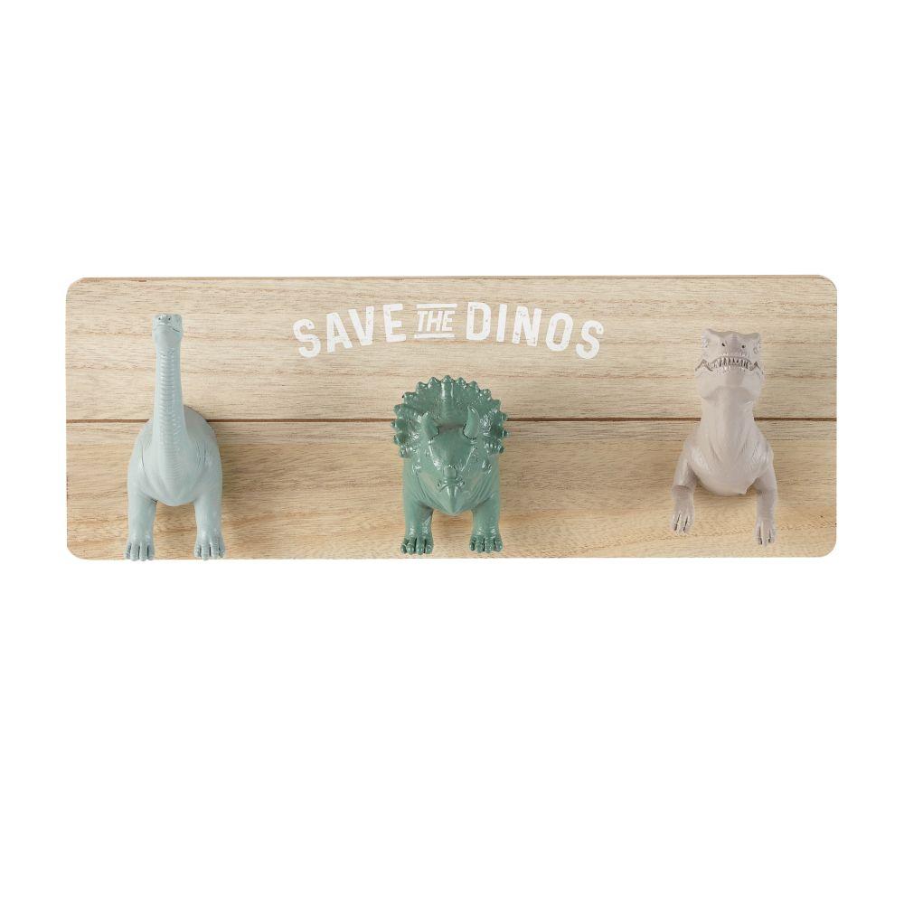 Colgador 3 ganchos dinosaurios gris, marrón y verde