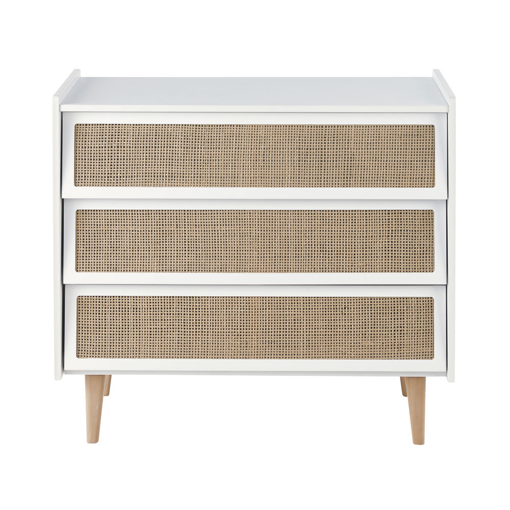 Commode 3 tiroirs blanche et cannage en rotin