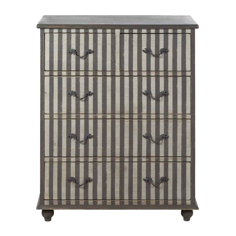 Commode 5 tiroirs en pin recyclé et bouleau motifs à rayures