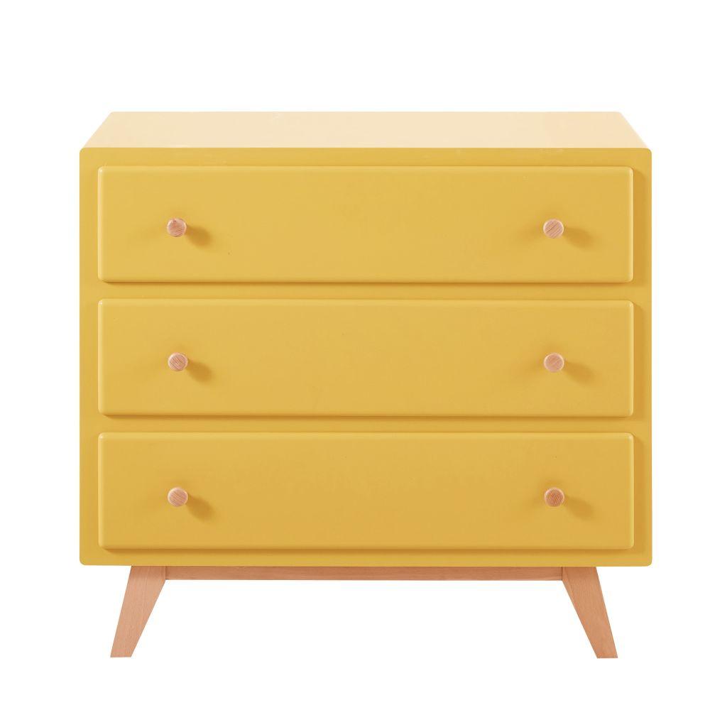 Commode compatible plan à langer 3 tiroirs jaune