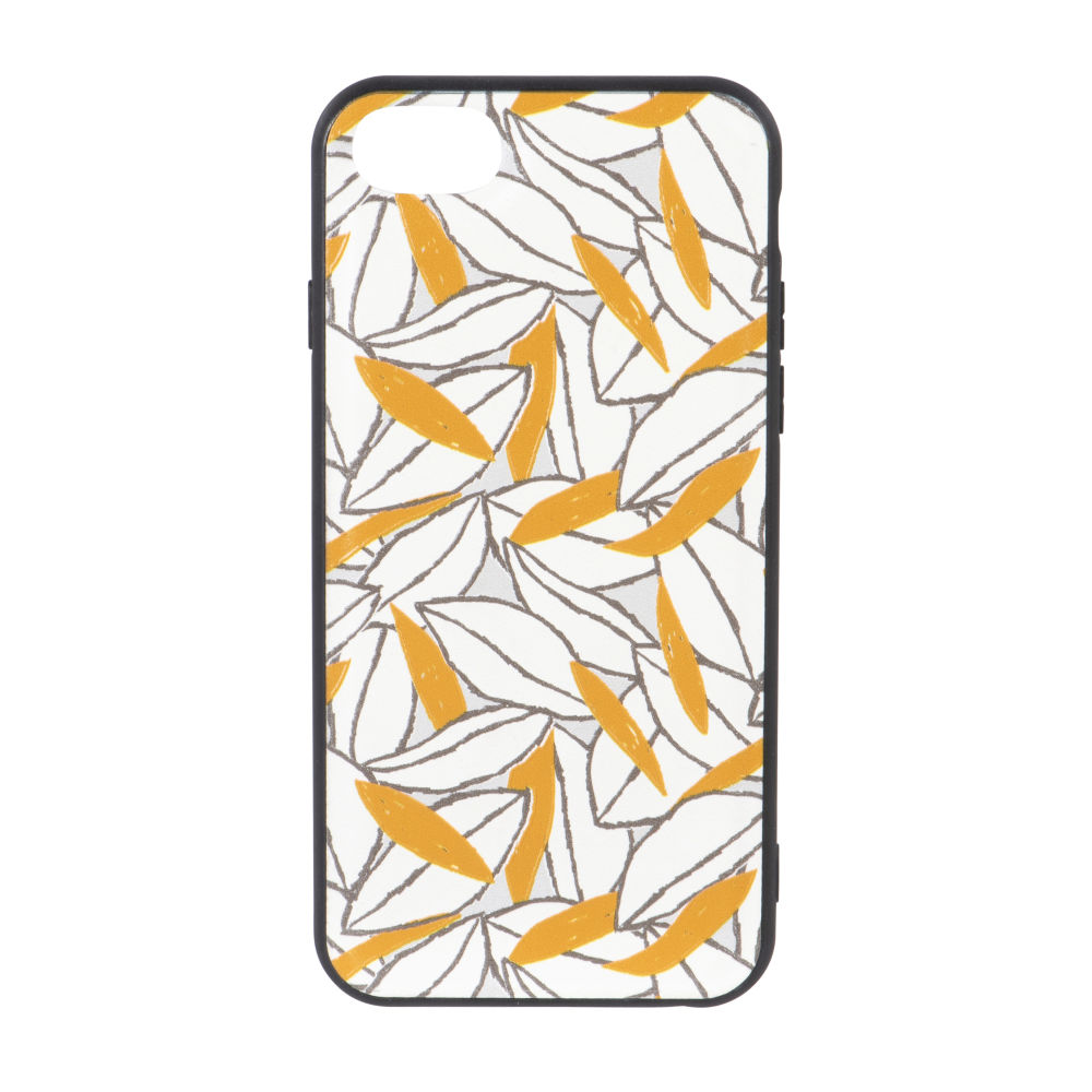 Coque Iphone 6/7/8/SE blanche imprimé feuilles noires