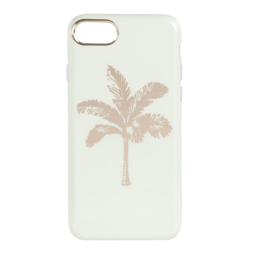 Coque Iphone 6/7/8/SE bleu à motif palmier doré