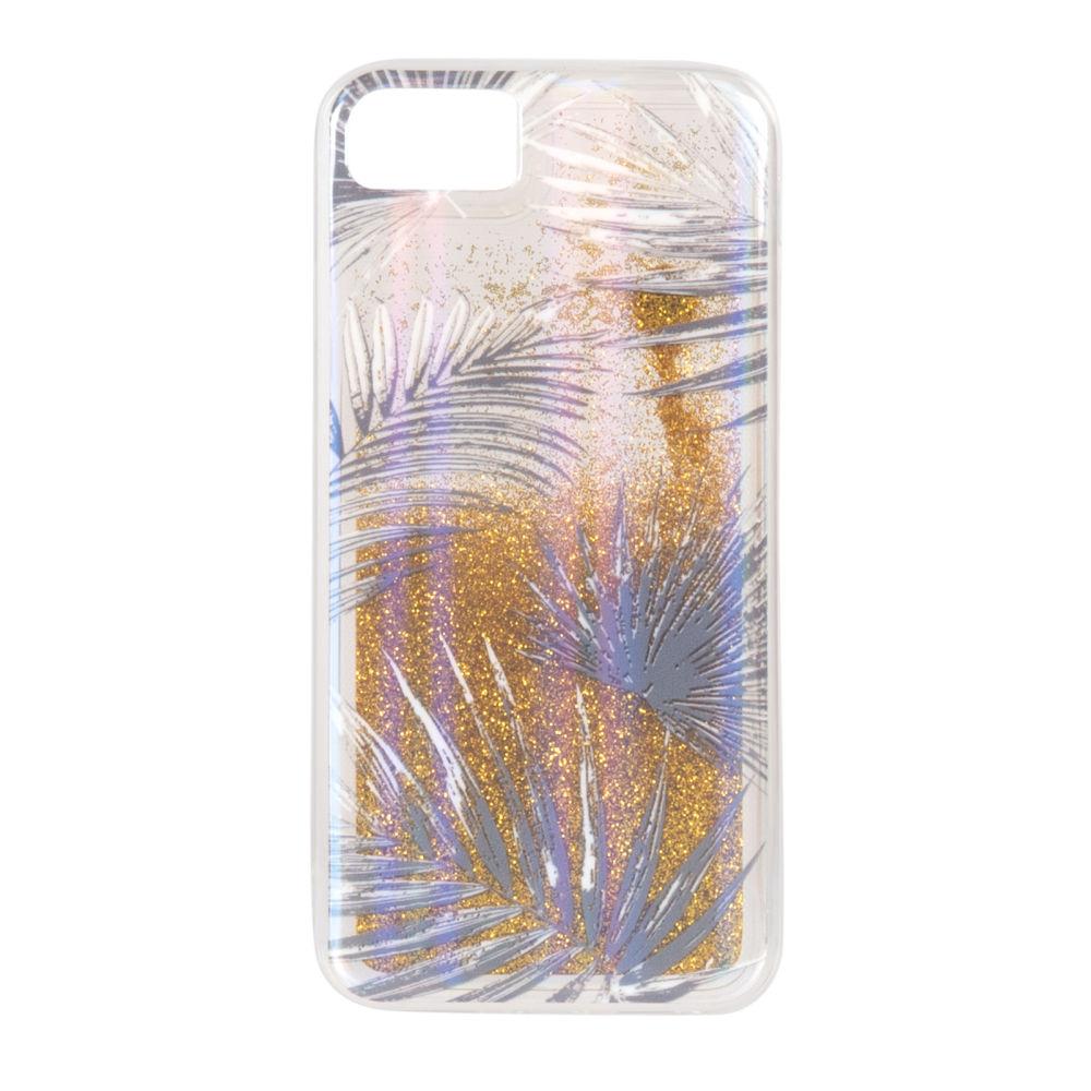 Coque Iphone 6/7/8/SE transparente à motifs dorés et brillants (photo)