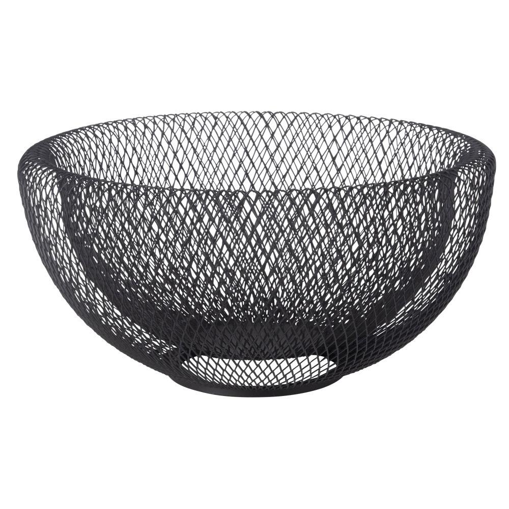 Corbeille à fruits en métal noir mat
