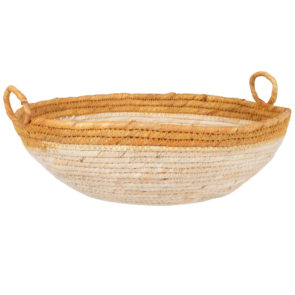 Corbeille basse en fibre de maïs bordure orange