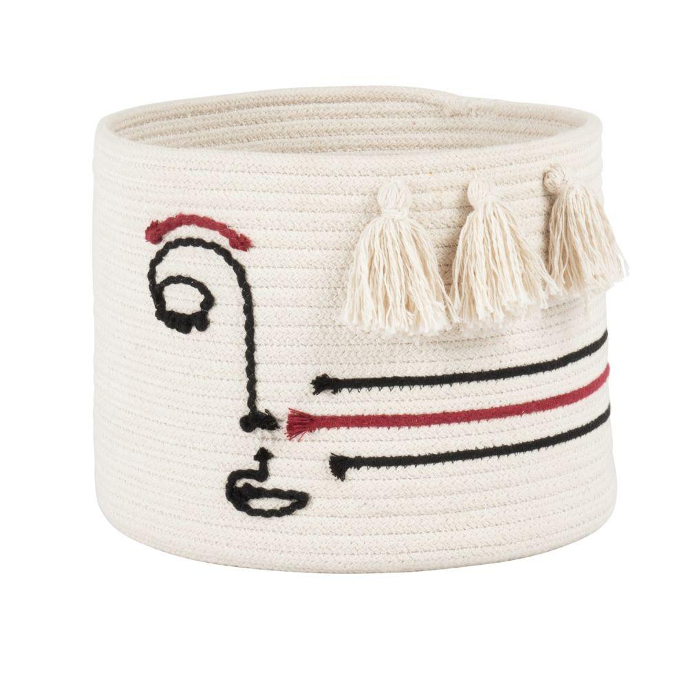 Corbeille en coton blanc et motif visage noir et rouge H20