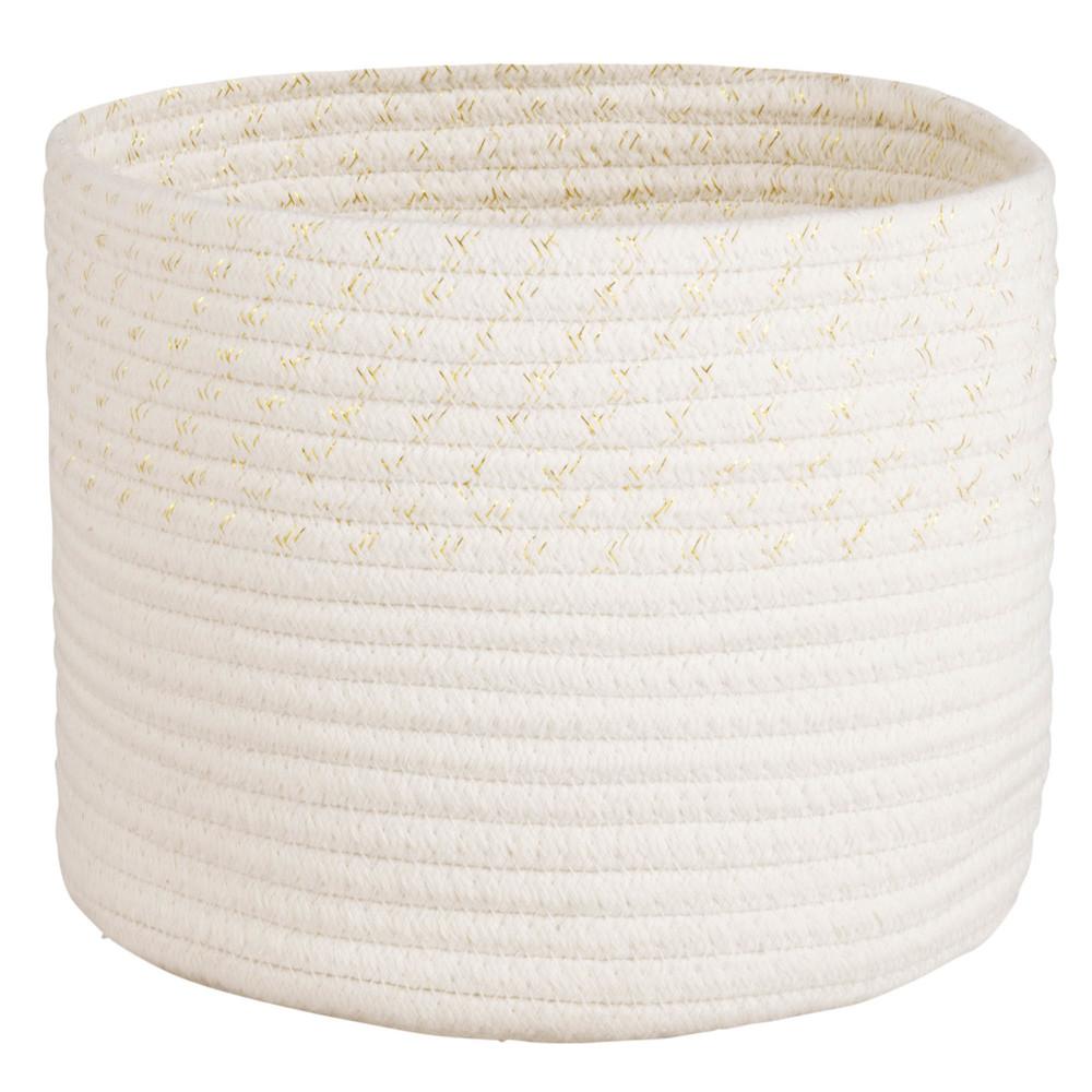 Corbeille en coton ivoire et doré