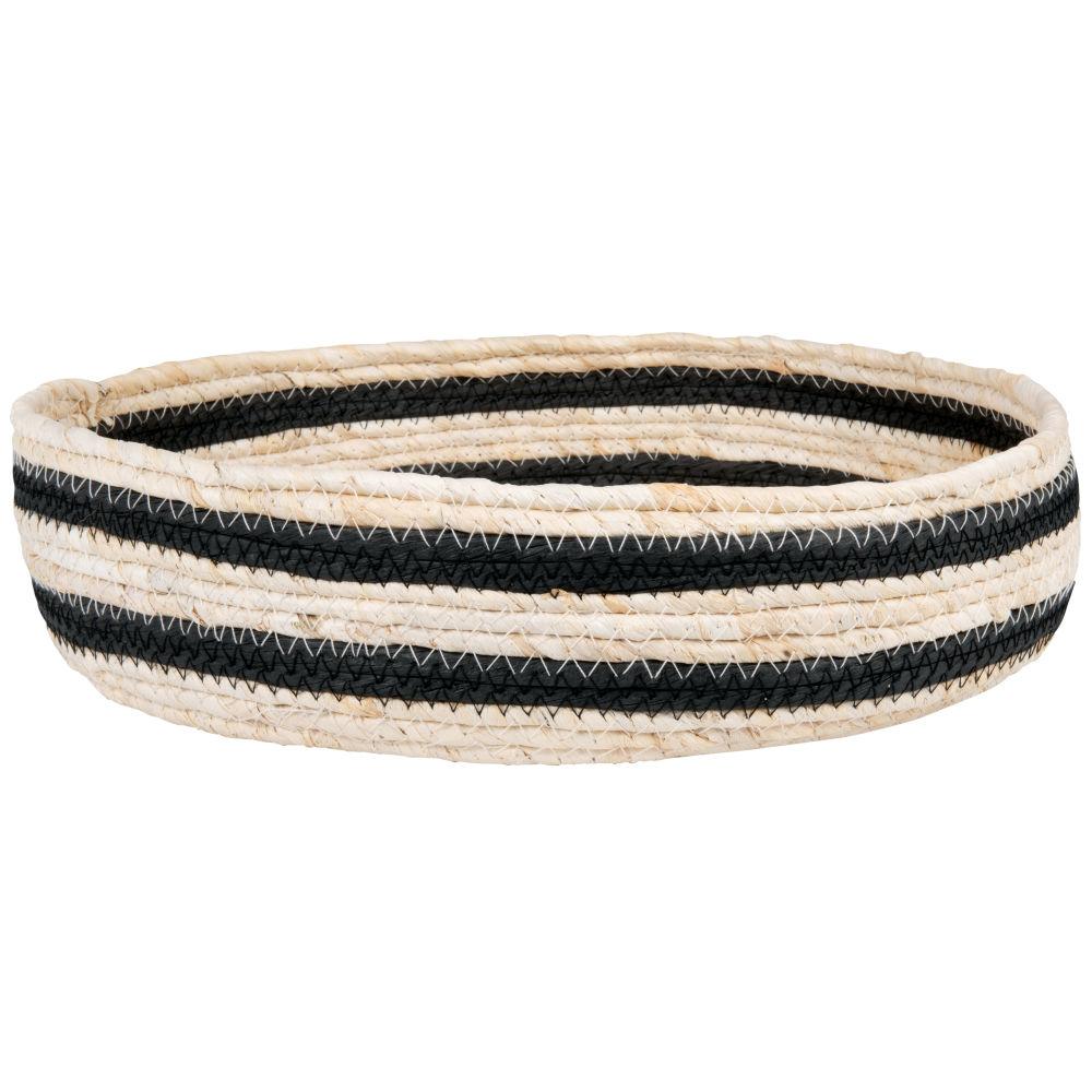 Corbeille en fibre de maïs bandes noires