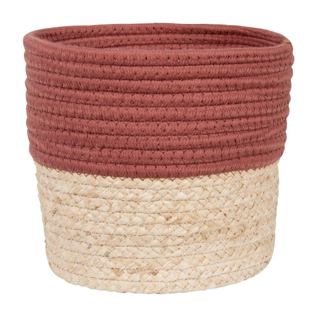 Corbeille en fibre de maïs et coton brique