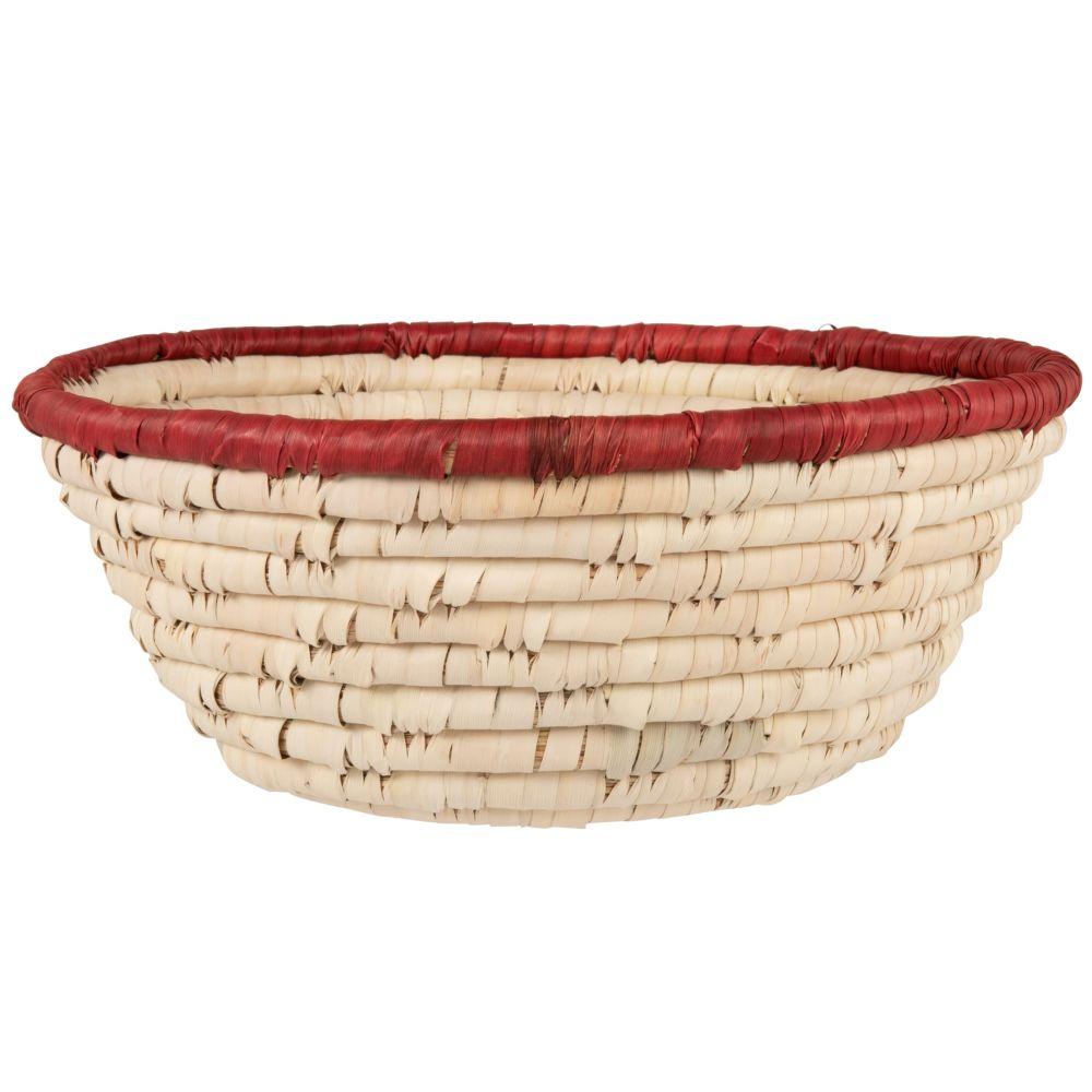 Corbeille en fibre végétale beige et rouge brique
