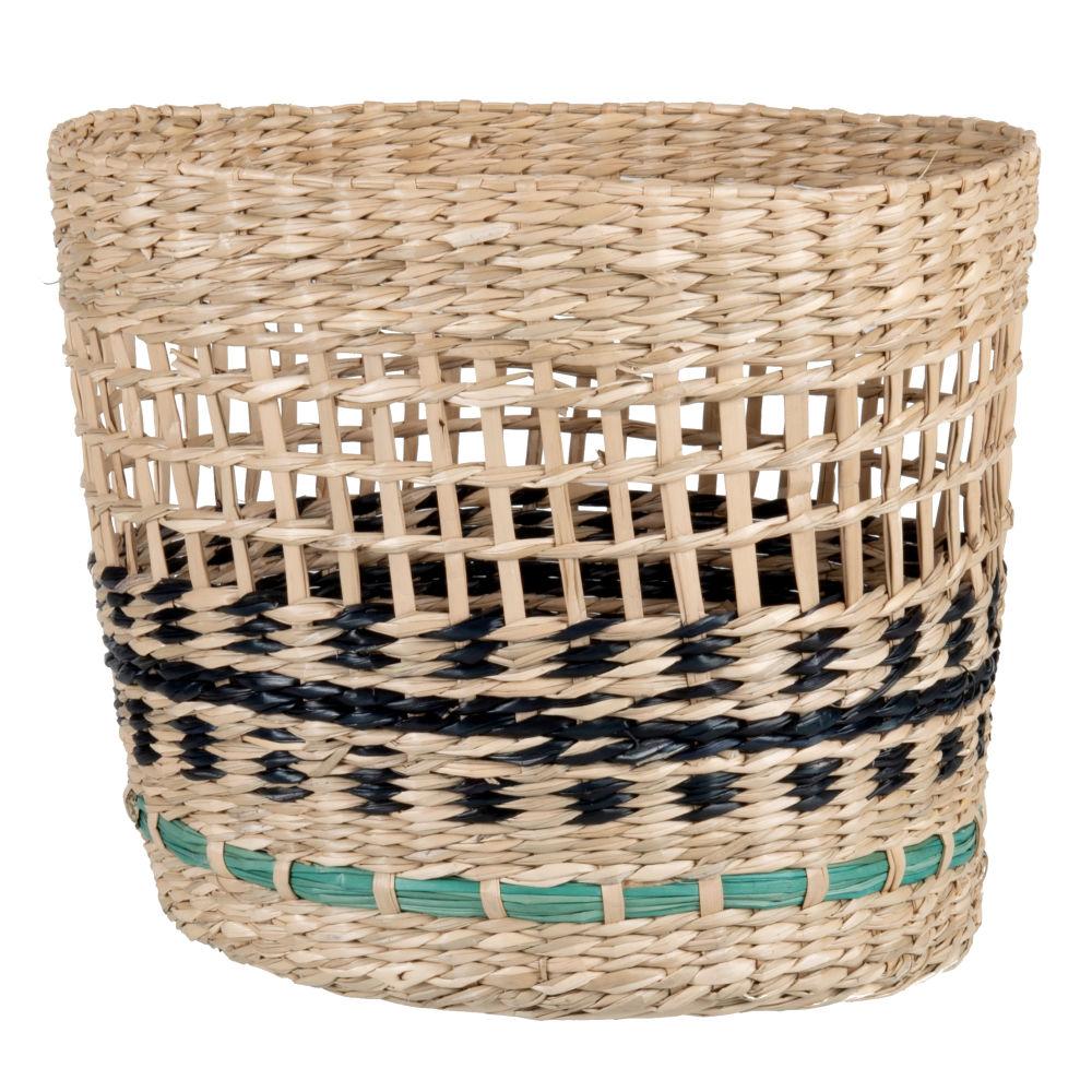 Corbeille en fibre végétale tressée beige, bleu vert et noire