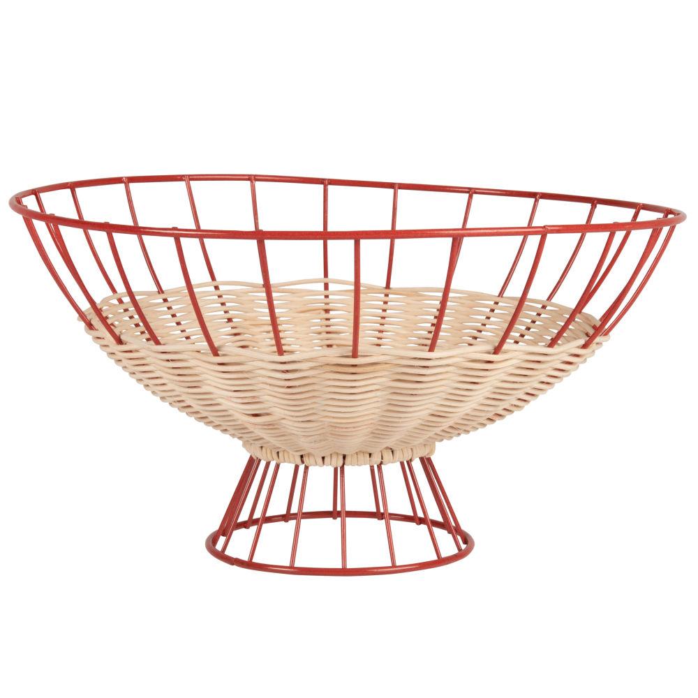 Corbeille en métal filaire rouge brique et fibre végétale