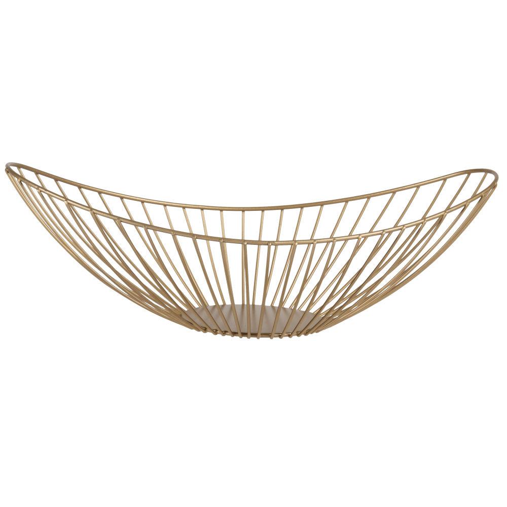Corbeille ovale en métal filaire doré mat