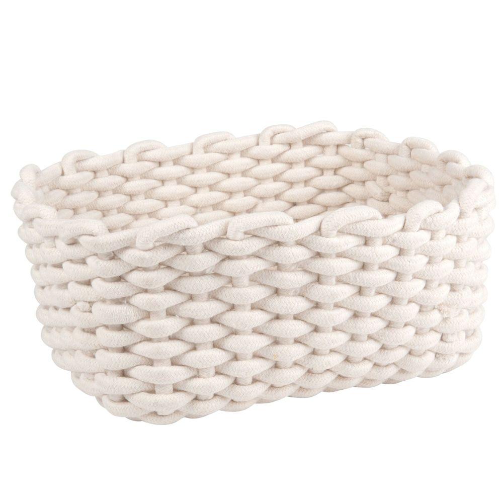 Corbeille rectangulaire en coton blanc