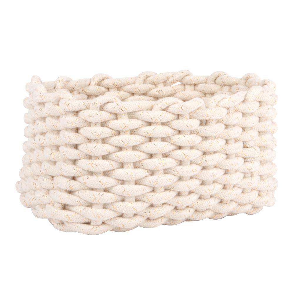 Corbeille rectangulaire en coton tressé blanc et lurex