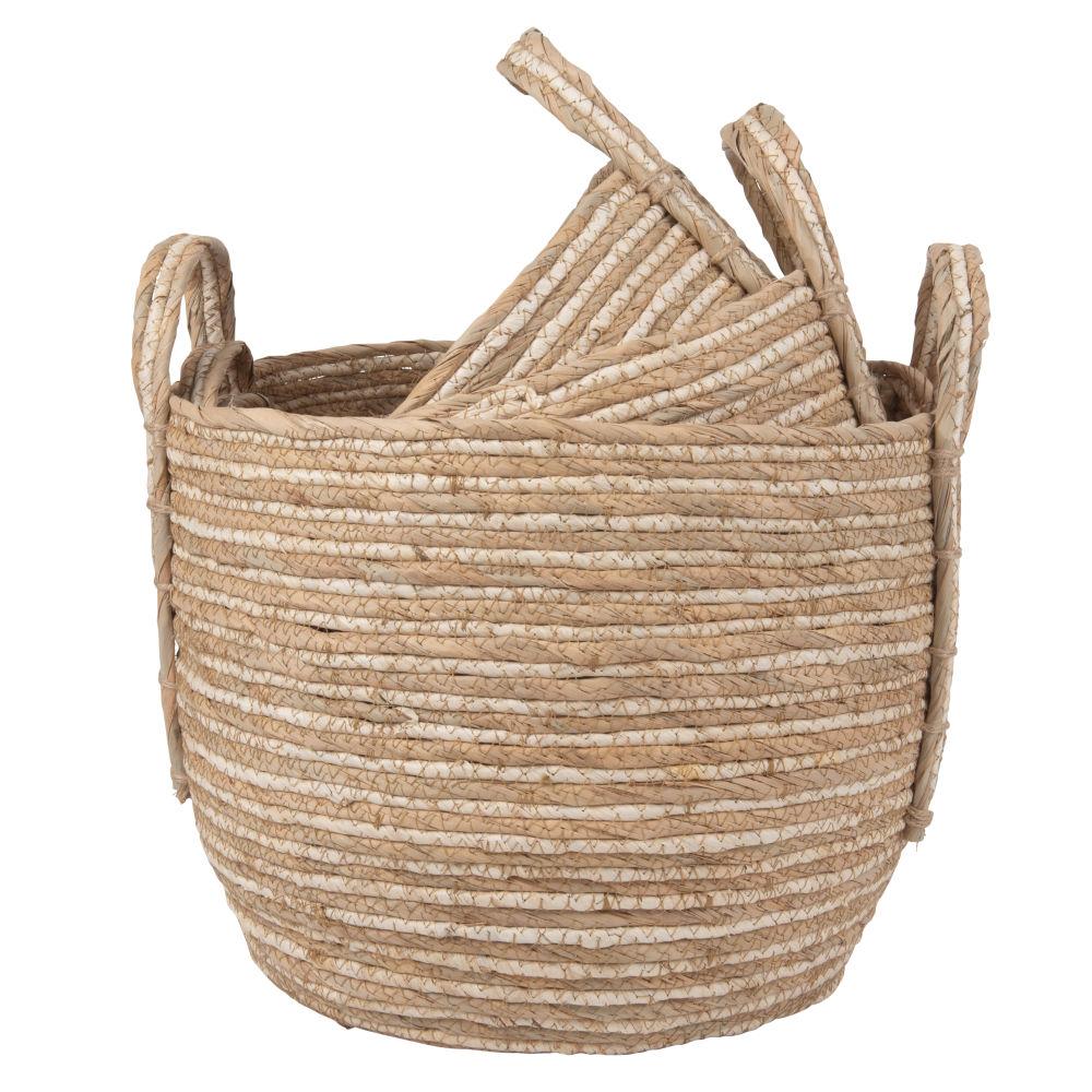 Corbeilles tressées en fibre de maïs (x3)