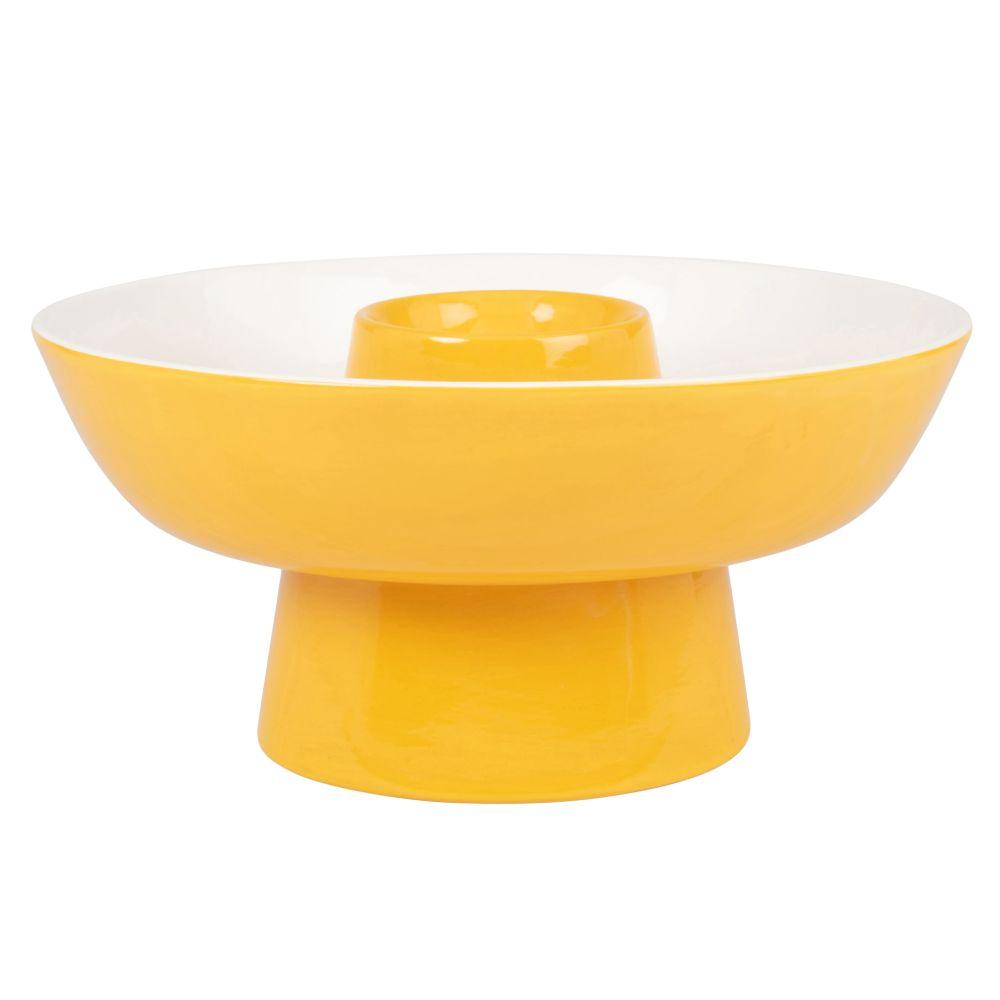 Coupe à fruits en faïence jaune