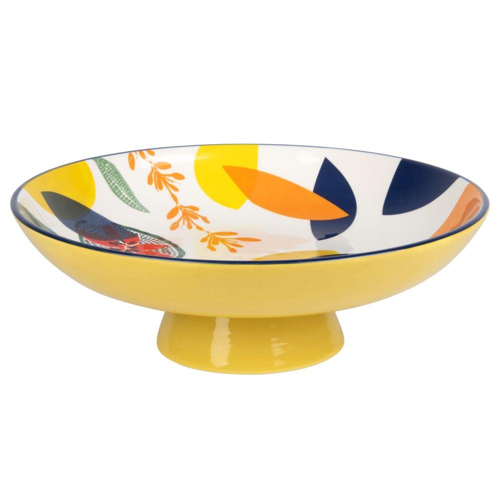 Coupe à fruits en faïence jaune imprimé multicolore
