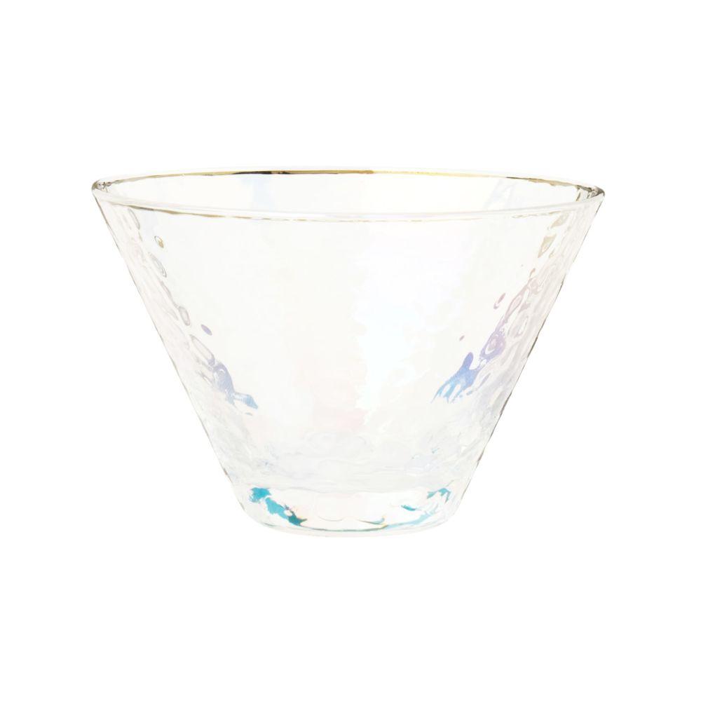 Coupe à glace en verre martelé irisé