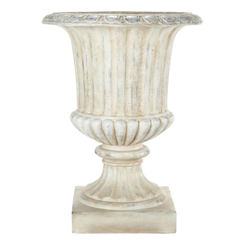 Coupe de jardin en magnésie blanche H 71 cm