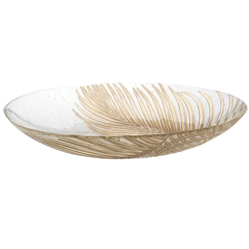 Coupe en verre imprimé feuilles de palmier dorés D40