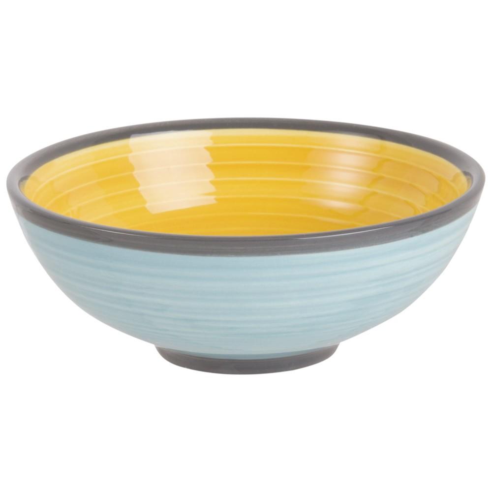 Coupelle en faïence bleue et jaune