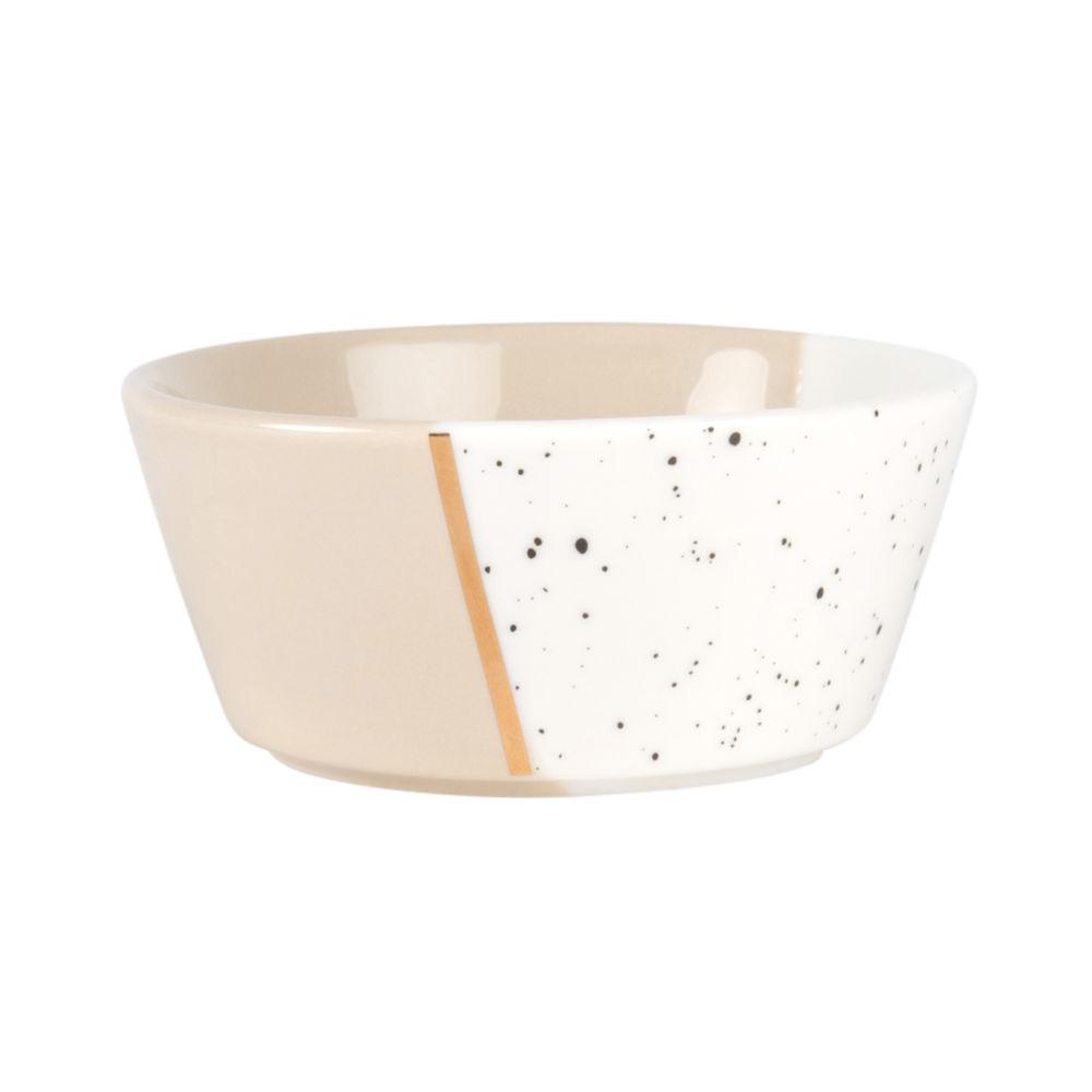 Coupelle en porcelaine beige et blanche