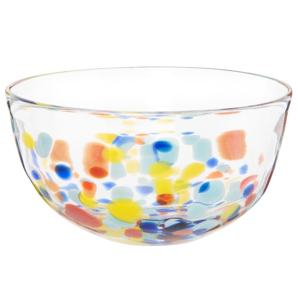 Coupelle en verre transparent et motifs à pois multicolores