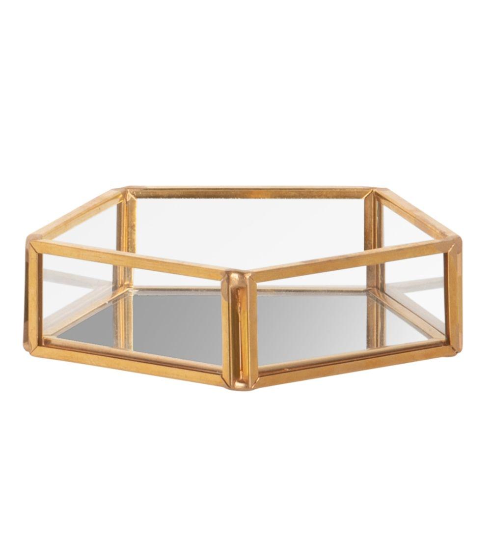 Coupelle hexagonale en verre et métal doré