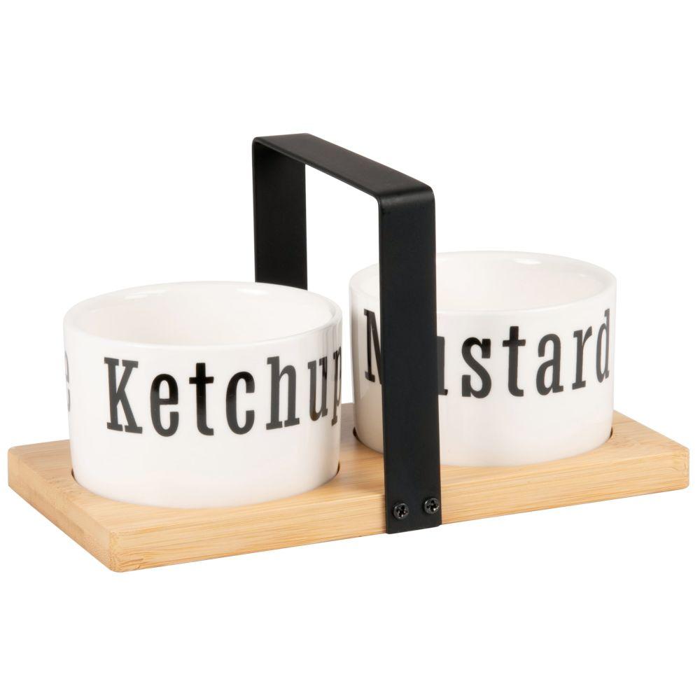 Coupelles à sauce (x2) en porcelaine blanche et noire avec support en bambou