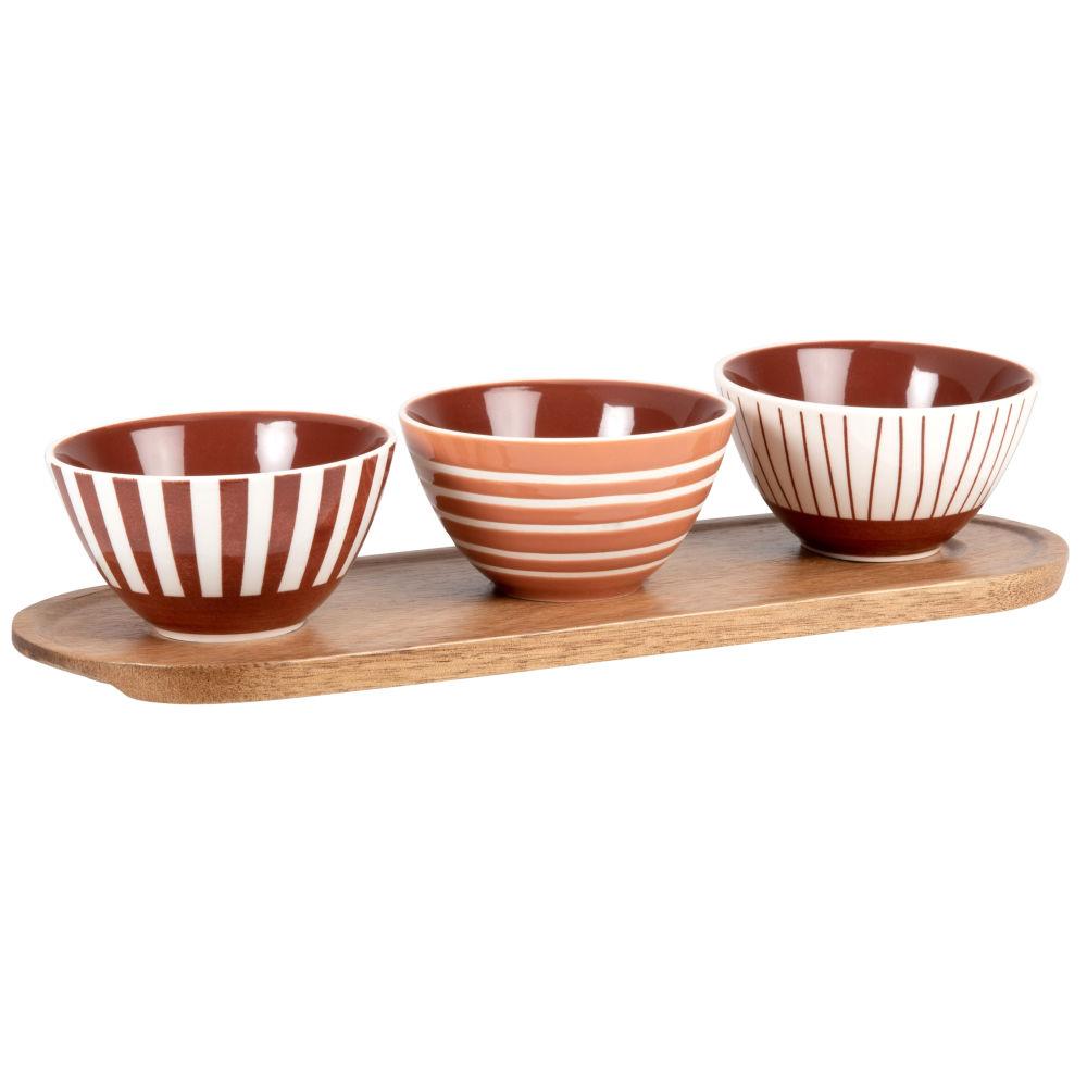 Coupelles apéritives en grès terracotta (x3) et plateau en acacia