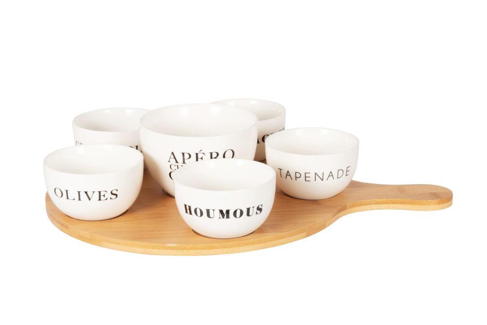 Coupelles apéritives en porcelaine blanche (x6) et plateau en bambou