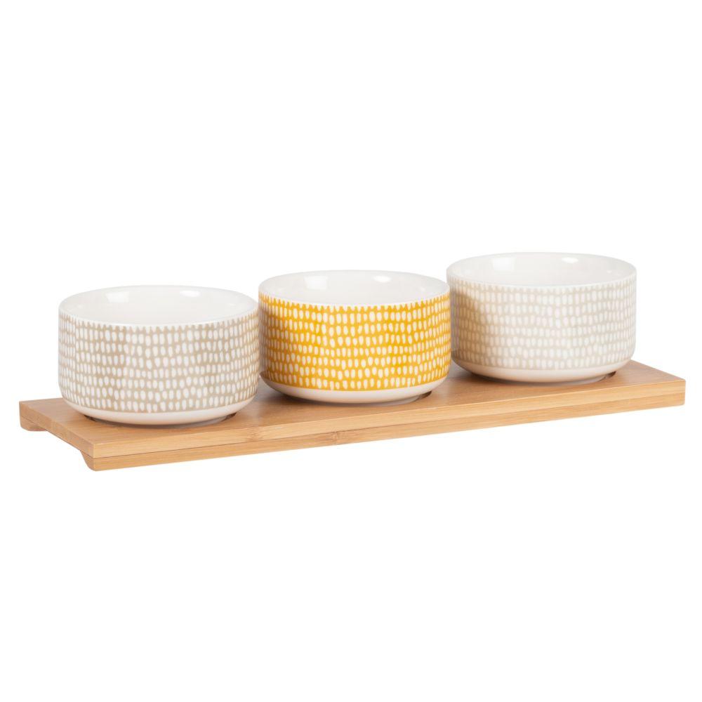 Coupelles apéritives en porcelaine jaune, beige et grise (x3) et plateau en hévéa