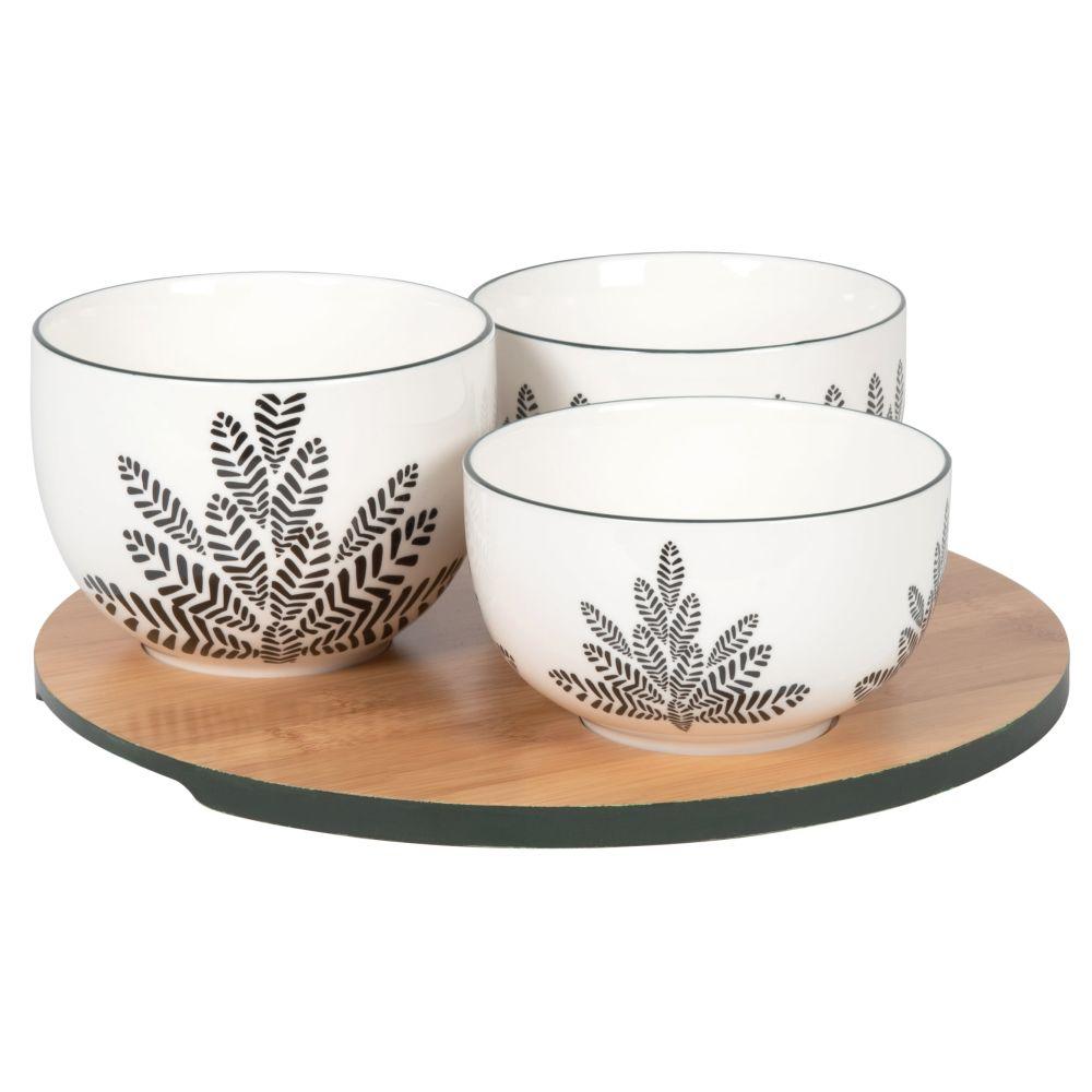 Coupelles apéritives en porcelaine noire, blanche et verte (x3) et plateau en bambou